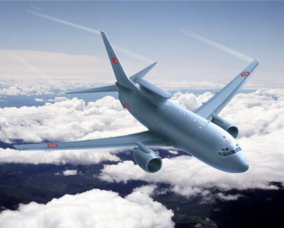 漆有土耳其空军涂装的aew&c空中预警和控制飞机想像图