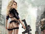 巨乳肥臀金发美女持钢枪