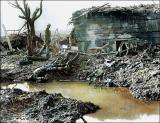 图文:两名加拿大士兵巡视被德军炸毁的房屋