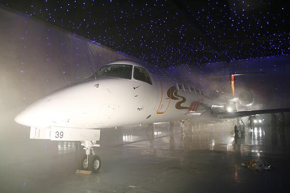 图文:ERJ145支线客机停在机库