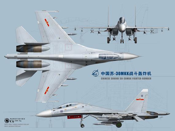 图文:中国海航部队苏-30MKK2战机三视图