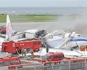 起火台湾华航客机机身被烧毁