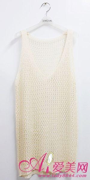 米白色的針織背心