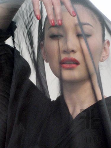 组图:李小冉红与黑写真