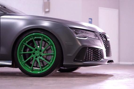 视频:就是好看 磨砂灰RS7改绿色ADV.1轮毂