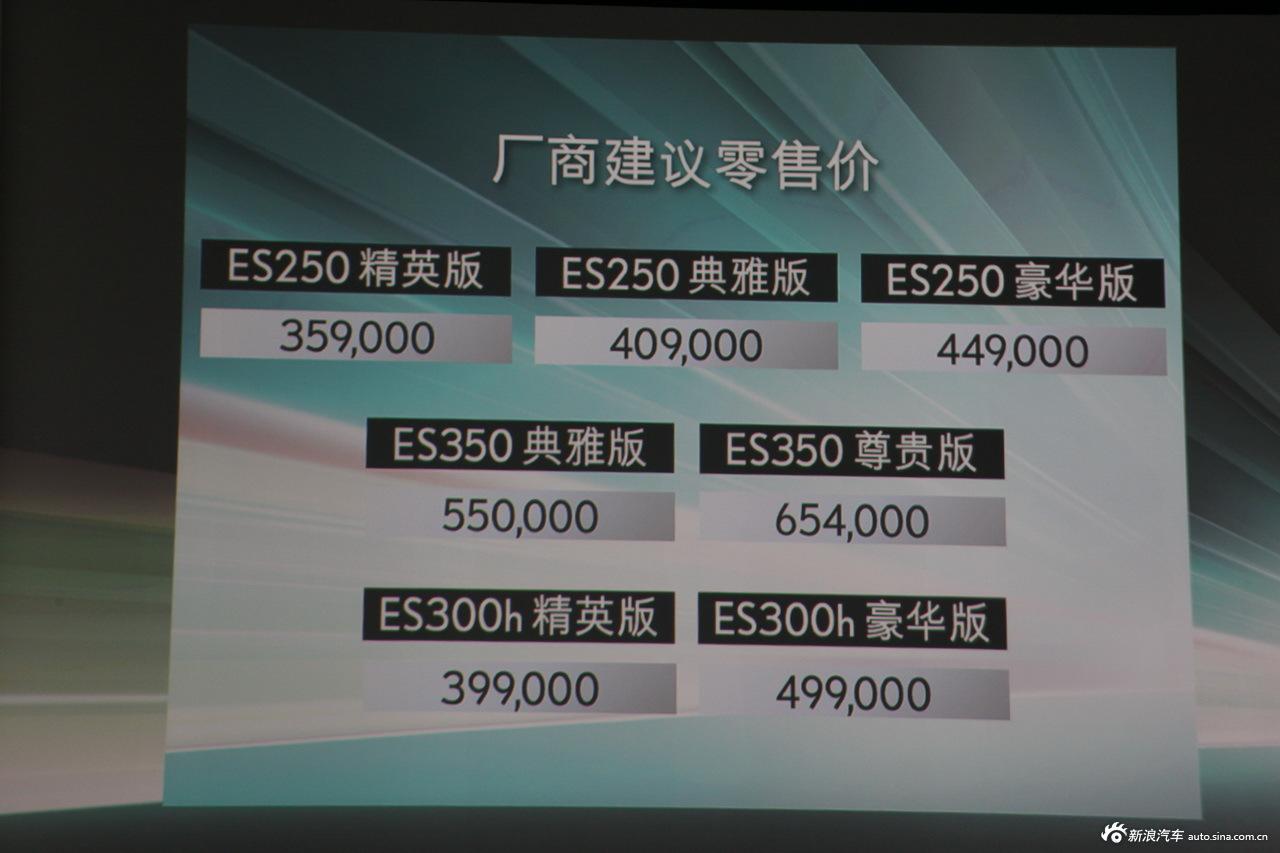 2012年7月18日新一代雷克萨斯ES车型正式上市,图为雷克萨斯ES价格公布。