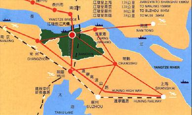 地图地埋位置江阴地处中国经济最发达的长三角地区几何中心.