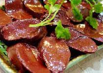 中国山西临汾特色菜:猪血灌肠