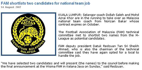 马来西亚主帅候选人出炉足协放弃外教只挑本土教练
