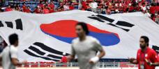 图文-球迷热情助阵伊韩之战韩国国旗飘扬在人群中