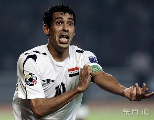 图文-[亚洲杯]伊拉克1-0沙特尤尼斯炫耀队长身份