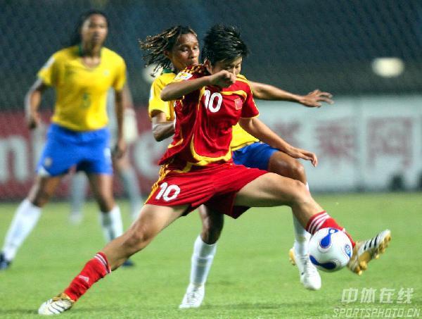 图文-[女足世界杯]中国0-4巴西马晓旭全速前进