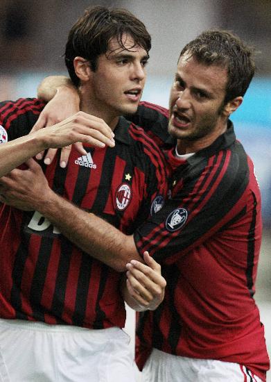 图文-[意甲]AC米兰1-1佛罗伦萨米兰双星庆祝进球