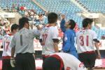 图文-[中超]厦门蓝狮1-3辽宁西洋耶利奇庆祝进球