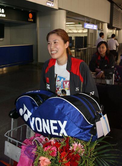 图文-苏杯中国羽毛球队载誉归来高��瞄准2008