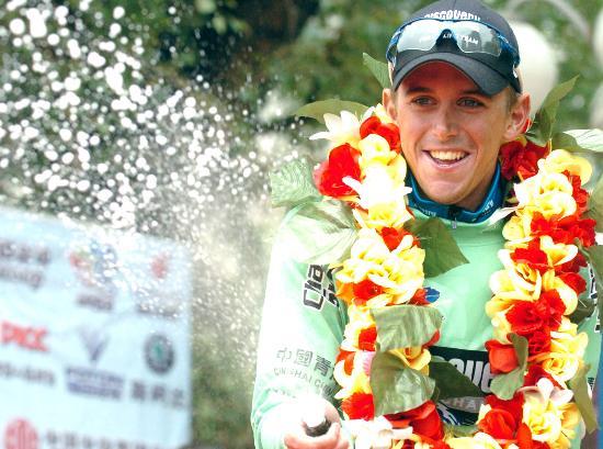 图文-环青海湖赛第五赛段赛况戴维斯享受冠军喜悦