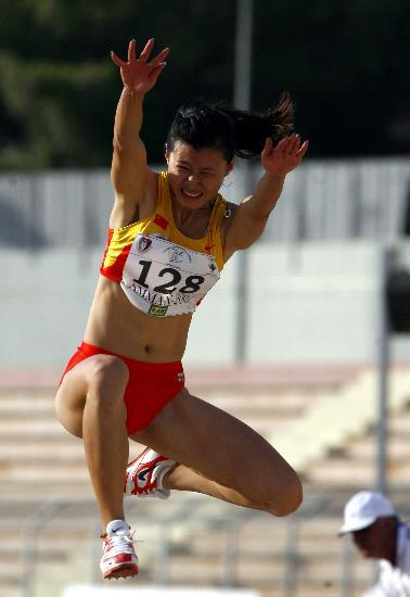 中国女子三级跳_中国选手沙莉在约旦首都安曼进行的第17届亚洲田径锦标赛女子三级跳远