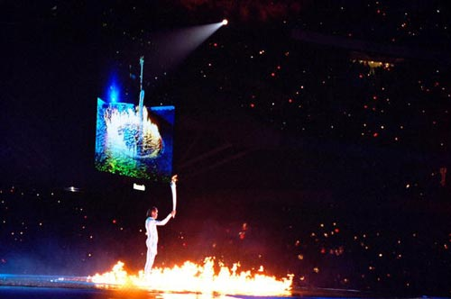图文-2000年悉尼奥运会点火仪式水火交融