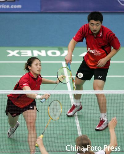 图文-羽毛球世锦赛混双次轮高��网前处理小球