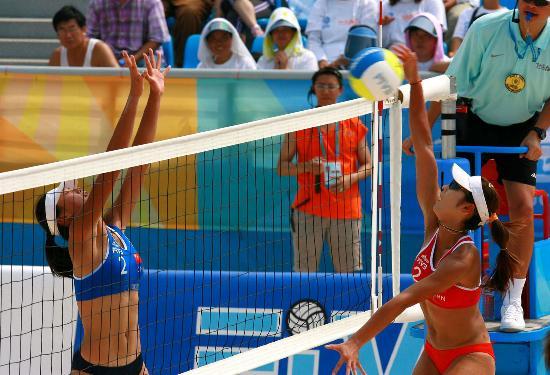 图文-沙滩排球奥运测试赛岳园/张文雯晋级四强