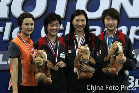 羽球世锦赛女单朱琳夺冠女单四豪杰聚首