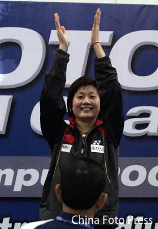 羽球世锦赛女单朱琳夺冠朱琳获胜欢呼雀跃