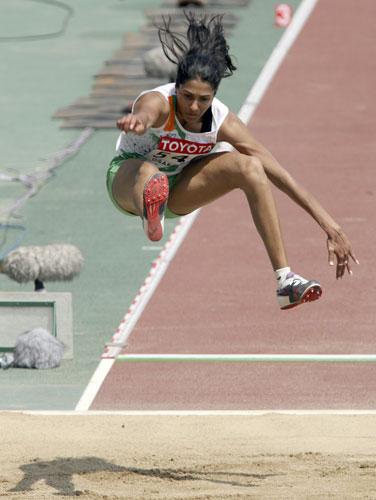 图文-田径世锦赛女子跳远预赛印度安珠博比乔治
