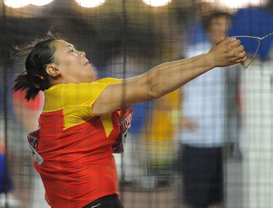 图文-世锦赛张文秀获女子链球季军展示中国力量