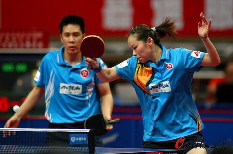 图文-乒球亚锦赛混双决赛香港选手高礼泽帖亚娜