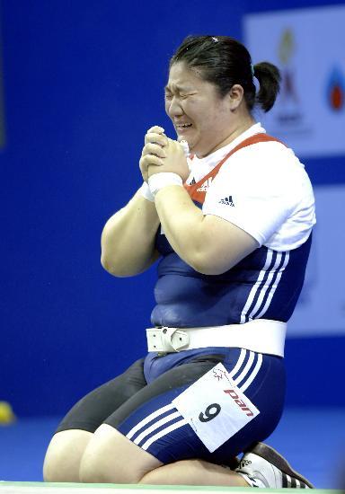 图文-韩国女选手夺75公斤两金这一刻是最幸福的