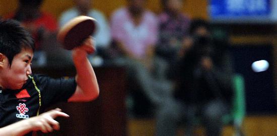 图文-乒乓球世界杯郭跃获得第三名郭跃积极进攻