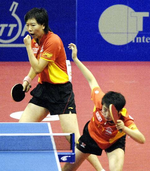 图文-乒球世界杯女团中国队夺冠李晓霞为郭跃喝彩