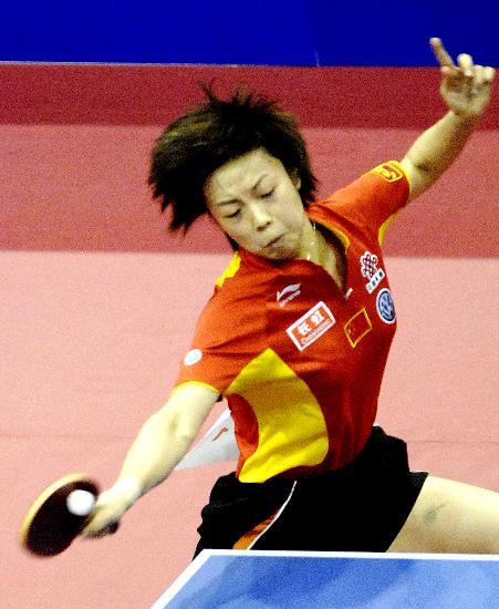 图文-乒球世界杯女团中国队夺冠张怡宁飒爽英姿