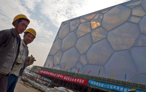 图文-探营鸟巢水立方内部施工半透明的水立方围墙