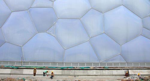 图文-探营鸟巢水立方内部施工水立方的泡泡幕墙