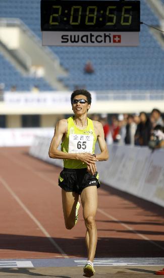 图文-北京国际马拉松赛赛况韩刚最终夺取了季军