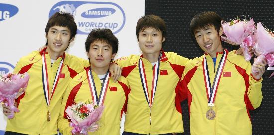 图文-短道速滑世界杯日本站中国男队夺得铜牌