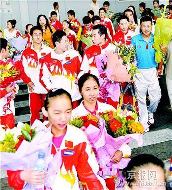 中国体操队载誉归来黄玉斌:三环节有利08奥运备战