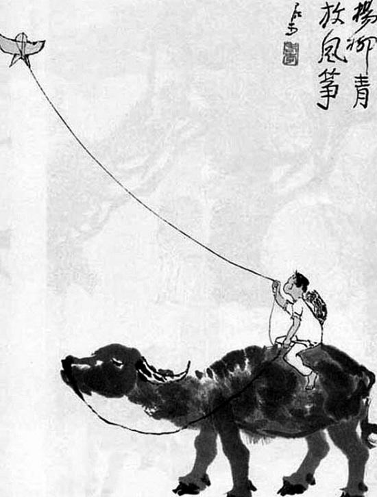 古代儿童放风筝