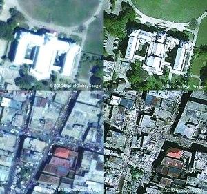 谷歌公布的海地地震前后圖片(左為地震前,右為地震后)