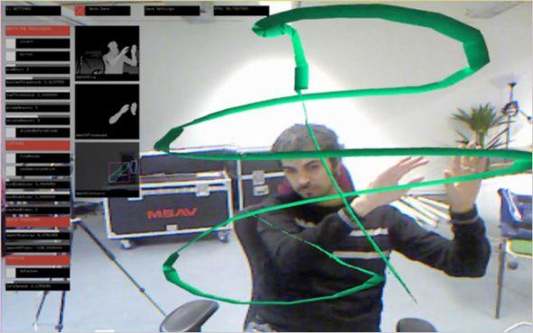 用户利用Kinect进行3D绘画