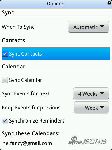 "勾選""Sync Contacts"" 保持Automatic不變"