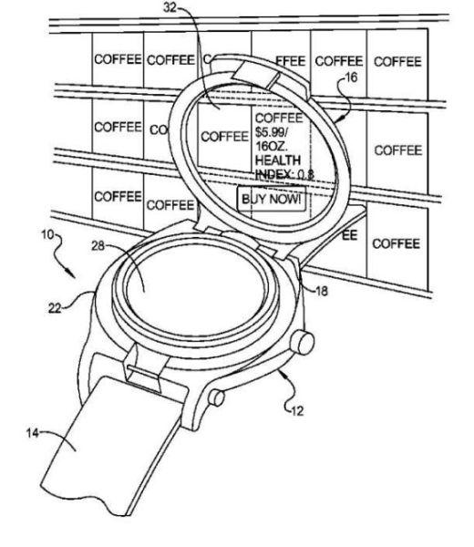 谷歌获智能手表专利:原理似谷歌眼镜