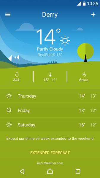 Sony Xperia天氣應用程序是一款易于使用的天氣應用程序,可向您提供最新的天氣信息。 -顯示當前位置的風力、濕度、高溫和低溫以及有關風的信息 -顯示感知溫度 -輕松設定并在不同的位置間滑動 -簡單易用的小部件 -多個天氣位置s -攝氏度和華氏度 此應用程序使用分析軟件收集和匯總統計數據,以幫助我們改進該應用程序和我們的服務。
