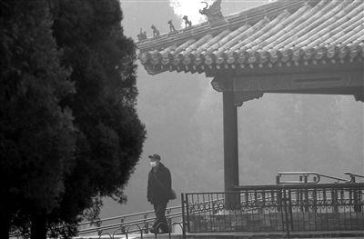 昨日,天坛公园,一名市民戴着口罩在公园里散步。昨日,我国中东部地区出现大范围雾霾,中央气象台发布了霾蓝色预警信号。新京报记者 倪华初 摄