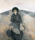 何多苓 《坐在山旁的女人