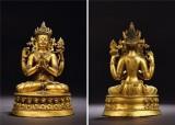 14至15世紀 銅鎏金四臂觀音像