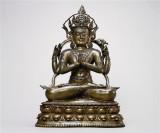 13世紀 黃銅嵌紅銅白銀四臂觀音像