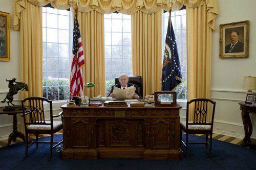 """美國男子韋德在自己家里建起了""""迷你版""""總統辦公室。"""