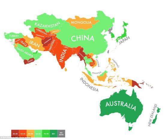 亚洲国家_由于气候和基础设施的差异,亚洲各个国家的指数相差较大.